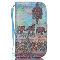 Knížkové PU kožené pouzdro na Samsung Galaxy S3 mini - sloni