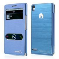 PU kožené pouzdro s okýnky na Huawei P6 - modré