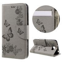 Butterfly PU kožené pouzdro na mobil Huawei Y5 II - šedé