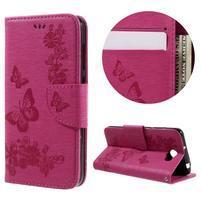 Butterfly PU kožené pouzdro na mobil Huawei Y5 II - rose