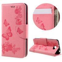 Butterfly PU kožené pouzdro na mobil Huawei Y5 II - růžové