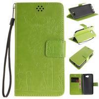 Dandelion PU kožené pouzdro na Huawei Y5 II - zelené