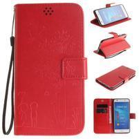 Dandelion PU kožené pouzdro na Huawei Y6 II a Honor 5A - červené