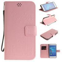 Dandelion PU kožené pouzdro na Huawei Y6 II a Honor 5A - růžové