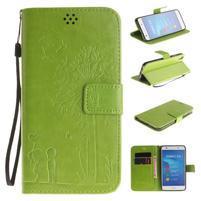 Dandelion PU kožené pouzdro na Huawei Y6 II a Honor 5A - zelené