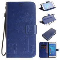 Dandelion PU kožené pouzdro na Huawei Y6 II a Honor 5A - modré