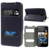Flipové PU kožené pouzdro na HTC Desire 500 - tmavě fialové