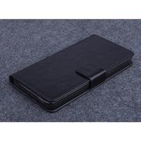 Černé PU kožené peněženkové pouzdro na Huawei Ascend G620s