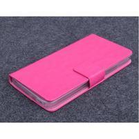 Růžové PU kožené peněženkové pouzdro na Huawei Ascend G620s