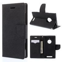 PU kožené peněženkové pouzdro na Nokia Lumia 830 - černé