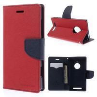 PU kožené peněženkové pouzdro na Nokia Lumia 830 - červené