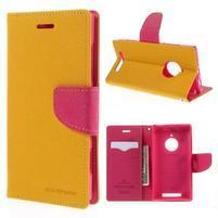 PU kožené peněženkové pouzdro na Nokia Lumia 830 - žluté
