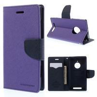 PU kožené peněženkové pouzdro na Nokia Lumia 830 - fialové