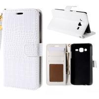 PU kožené pouzdro s imitací krokodýlí kůže Samsung Galaxy J5 - bílé