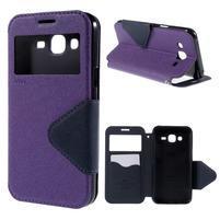 PU kožené puzdro s okienkom pro Samsung Galaxy J5 - fialové