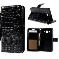 PU kožené pouzdro s imitací krokodýlí kůže Samsung Galaxy J5 - černé