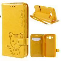Peněženkové pouzdro s kočičkou Domi na Samsung Galaxy J5 - žluté