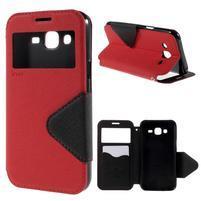 PU kožené pouzdro s okýnkem pro Samsung Galaxy J5 - červené