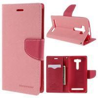 Diary štýlové puzdro pre Asus Zenfone 2 Laser - ružové