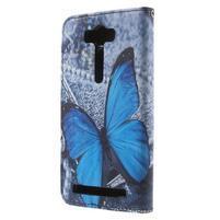 Koženkové pouzdro na Asus Zenfone 2 Laser - modrý motýl