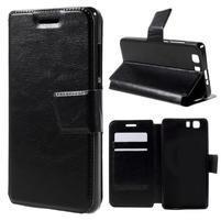 Peněženkové PU kožené pouzdro na mobil Doogee X5 - černé