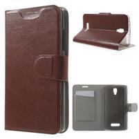 Horse peňaženkové puzdro pre Lenovo A2010 - hnedé