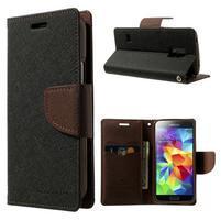 Diary PU kožené pouzdro na Samsung Galaxy S5 mini - černé/hnědé