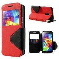 Pěněženkové pouzdro s okýnkem pro Samsung Galaxy S5 mini - červené