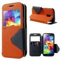 Pěněženkové pouzdro s okýnkem pro Samsung Galaxy S5 mini -  oranžové