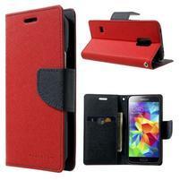 Diary PU kožené pouzdro na Samsung Galaxy S5 mini - červené