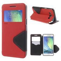 Stylové pouzdro s okýnkem na Samsung Galaxy A5 - červené