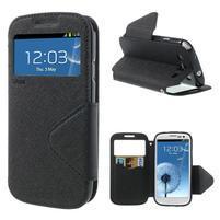 Peněženkové pouzdro s okýnkem pro Samsung Galaxy S3 / S III - černé