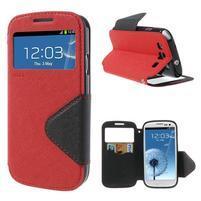 Peněženkové pouzdro s okýnkem pro Samsung Galaxy S3 / S III - červené