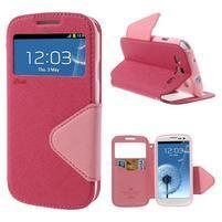 Peněženkové pouzdro s okýnkem pro Samsung Galaxy S3 / S III - rose