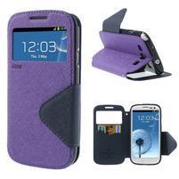 Peněženkové pouzdro s okýnkem pro Samsung Galaxy S3 / S III - fialové