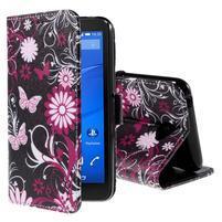 Koženkové pouzdro na mobil Sony Xperia E4 - motýlci