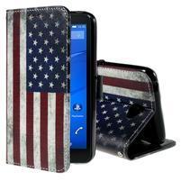 Koženkové pouzdro na mobil Sony Xperia E4 - US vlajka