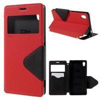 Peněženkové pouzdro s okýnkem pro Sony Xperia M4 Aqua - červené