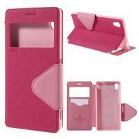 Peněženkové pouzdro s okýnkem pro Sony Xperia M4 Aqua - růžové