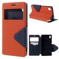 Peněženkové pouzdro s okýnkem pro Sony Xperia M4 Aqua - oranžové