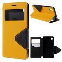Peněženkové pouzdro s okýnkem pro Sony Xperia M4 Aqua - žluté