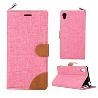 Jeans peněženkové pouzdro na mobil Sony Xperia M4 Aqua - růžové