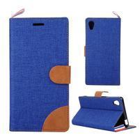 Jeans peněženkové pouzdro na mobil Sony Xperia M4 Aqua - modré