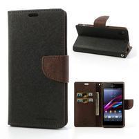 Fancy peněženkové pouzdro na mobil Sony Xperia Z1 - černé/hnědé