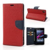 Fancy peněženkové pouzdro na mobil Sony Xperia Z1 - červené