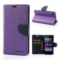 Fancy peněženkové pouzdro na mobil Sony Xperia Z1 - fialové