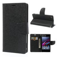 Fancy peněženkové pouzdro na mobil Sony Xperia Z1 - černé