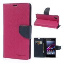 Fancy peněženkové pouzdro na mobil Sony Xperia Z1 - rose