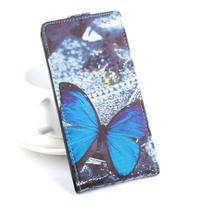 Flipové puzdro pre mobil Acer Liquid Z520 - modrý motýľ