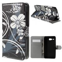 Nice koženkové pouzdro na mobil Acer Liquid Z520 - bílé květy